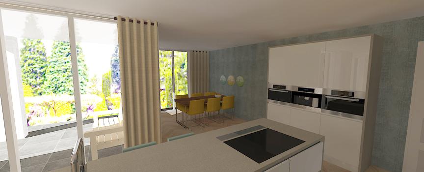 3D impressie keuken met kastenwand
